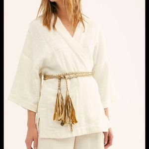 New Free People Metallic Gold Braided Belt One Siz